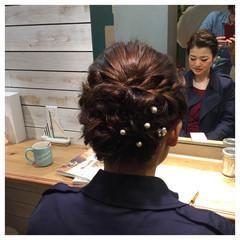 ヘアアレンジ 結婚式 パーティ ミディアム ヘアスタイルや髪型の写真・画像