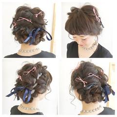 前髪あり ショート 簡単ヘアアレンジ ゆるふわ ヘアスタイルや髪型の写真・画像