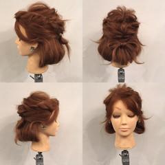 パーティ 波ウェーブ 編み込み くるりんぱ ヘアスタイルや髪型の写真・画像