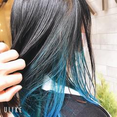 ミディアム オシャレ ターコイズブルー ストリート ヘアスタイルや髪型の写真・画像