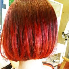 ピンク 透明感 ボブ パープル ヘアスタイルや髪型の写真・画像