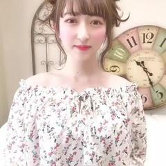 お団子アレンジ デート 簡単ヘアアレンジ ガーリー ヘアスタイルや髪型の写真・画像