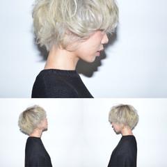 外国人風 モード ホワイト ボーイッシュ ヘアスタイルや髪型の写真・画像
