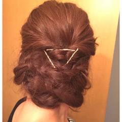 編み込み ヘアアレンジ ヘアピン ロング ヘアスタイルや髪型の写真・画像