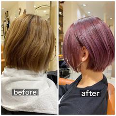 ピンクラベンダー ラベンダーピンク ショートボブ ボブ ヘアスタイルや髪型の写真・画像