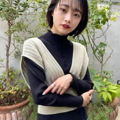 ミニボブ レイヤーカット 小顔ショート ナチュラル ヘアスタイルや髪型の写真・画像