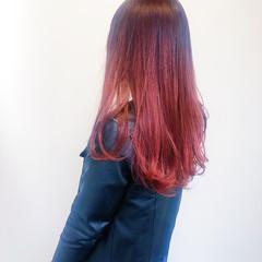 ラズベリーピンク ピンクヘア モード ロング ヘアスタイルや髪型の写真・画像