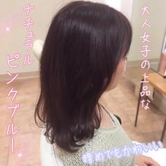 ピンクアッシュ セミロング ピンク 大人かわいい ヘアスタイルや髪型の写真・画像