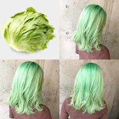 ナチュラル インナーグリーン ハイトーン ハイトーンカラー ヘアスタイルや髪型の写真・画像