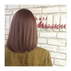 ガーリー ハイトーン コーラル ボブ ヘアスタイルや髪型の写真・画像