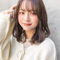 韓国ヘア ひし形シルエット セミロング ナチュラル ヘアスタイルや髪型の写真・画像