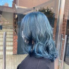 ガーリー ブリーチオンカラー ブルージュ ターコイズブルー ヘアスタイルや髪型の写真・画像