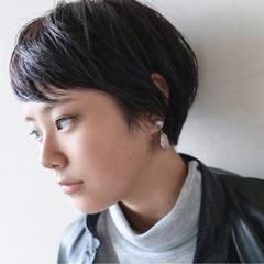 前髪あり 暗髪 ナチュラル ショートボブ ヘアスタイルや髪型の写真・画像