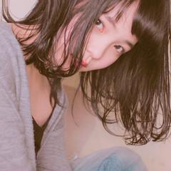 ストリート 黒髪 ミディアム くせ毛風 ヘアスタイルや髪型の写真・画像