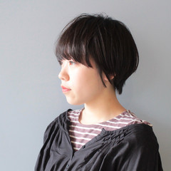 ショート 小顔ショート ショートヘア 黒髪 ヘアスタイルや髪型の写真・画像