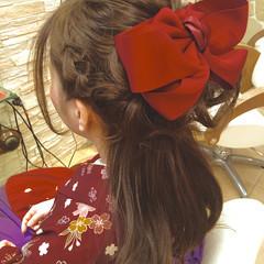 袴 着物 編み込み セミロング ヘアスタイルや髪型の写真・画像