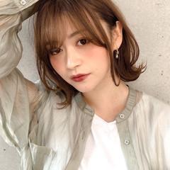 ミディアム 大人かわいい モテ髪 フェミニン ヘアスタイルや髪型の写真・画像