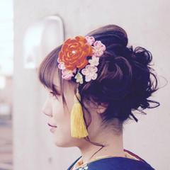 ヘアアレンジ 成人式ヘア 可愛い セミロング ヘアスタイルや髪型の写真・画像