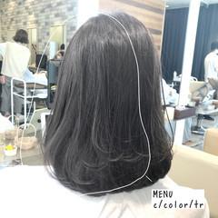 縮毛矯正 ミディアム ストレート 前髪 ヘアスタイルや髪型の写真・画像