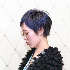 ベリーショート ブルー ネイビー ストリート ヘアスタイルや髪型の写真・画像