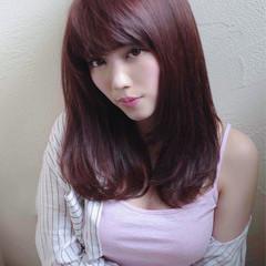 大人かわいい ピンク セミロング ワンカール ヘアスタイルや髪型の写真・画像