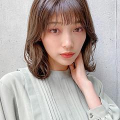 ナチュラル デート モテ髮シルエット ミディアムレイヤー ヘアスタイルや髪型の写真・画像