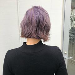 透明感カラー ボブ ストリート 外ハネボブ ヘアスタイルや髪型の写真・画像