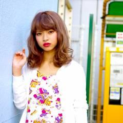 ミディアム ストリート 外国人風 オン眉 ヘアスタイルや髪型の写真・画像