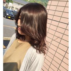 セミロング パーマ ピュア ヘアアレンジ ヘアスタイルや髪型の写真・画像