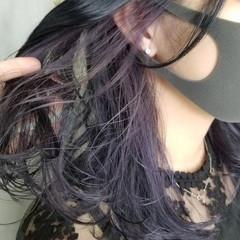 パープル インナーカラーパープル 韓国ヘア インナーカラー ヘアスタイルや髪型の写真・画像