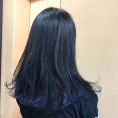 モード ロング ネイビー ヘアスタイルや髪型の写真・画像