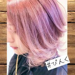 ブリーチオンカラー ブリーチ ボブ デート ヘアスタイルや髪型の写真・画像