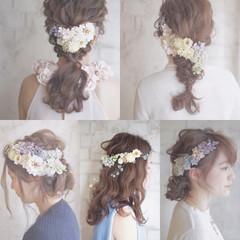 ロング 大人かわいい ゆるふわ 結婚式 ヘアスタイルや髪型の写真・画像