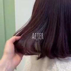 レッドカラー カシスレッド レッドブラウン ボブ ヘアスタイルや髪型の写真・画像