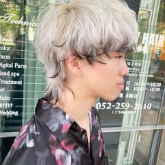 ストリート ショート ウルフカット ホワイトベージュ ヘアスタイルや髪型の写真・画像