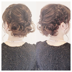 編み込み ヘアアレンジ 大人かわいい アップスタイル ヘアスタイルや髪型の写真・画像