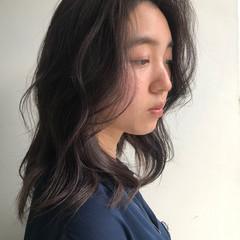 鎖骨ミディアム イルミナカラー オルチャン うる艶カラー ヘアスタイルや髪型の写真・画像
