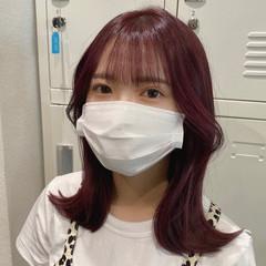韓国ヘア ミディアム ピンクブラウン ナチュラル ヘアスタイルや髪型の写真・画像