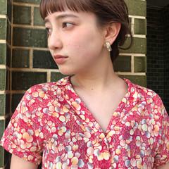 前髪あり 簡単ヘアアレンジ フェミニン セミロング ヘアスタイルや髪型の写真・画像