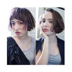 色気 外国人風 ボブ ミルクティー ヘアスタイルや髪型の写真・画像