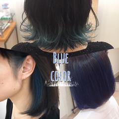 ナチュラル インナーブルー ブリーチ ブリーチカラー ヘアスタイルや髪型の写真・画像