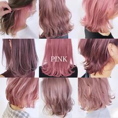 ピンク ナチュラル インナーカラー 切りっぱなしボブ ヘアスタイルや髪型の写真・画像