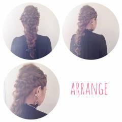 ナチュラル ヘアアレンジ 結婚式 三つ編み ヘアスタイルや髪型の写真・画像