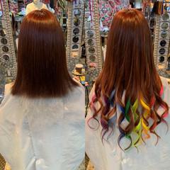 エクステ フェミニン インナーカラー カラーバター ヘアスタイルや髪型の写真・画像