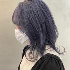 ブルー ガーリー ダブルカラー ミディアム ヘアスタイルや髪型の写真・画像