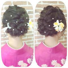 袴 ヘアアレンジ ロング パールアクセ ヘアスタイルや髪型の写真・画像