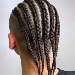 スパイラルパーマ ミディアム ドレッド 編み込み ヘアスタイルや髪型の写真・画像