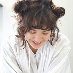 ハーフアップ 前髪あり 外国人風 簡単ヘアアレンジ ヘアスタイルや髪型の写真・画像