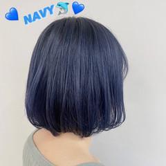 透明感カラー ネイビーブルー ナチュラル ネイビーアッシュ ヘアスタイルや髪型の写真・画像
