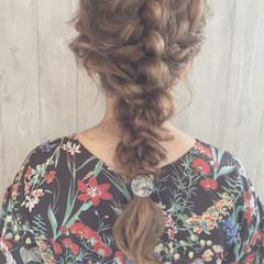 編み込み 女子会 ヘアアレンジ ナチュラル ヘアスタイルや髪型の写真・画像